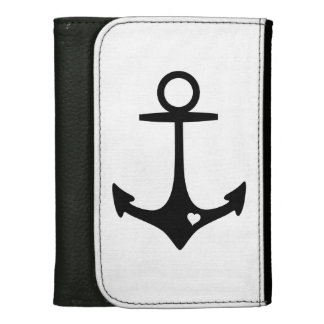 Black Anchor with heart Wallet For Women