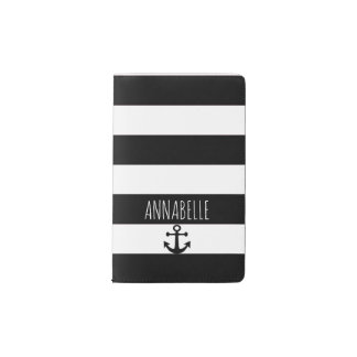 Black Anchors Away 2 Pocket Moleskine Notebook