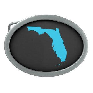 Black and Aqua Blue Florida Oval Belt Buckle
