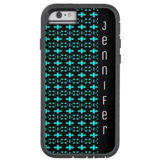 Black and Aqua Blue Geometric Pattern Name Tough Xtreme iPhone 6 Case