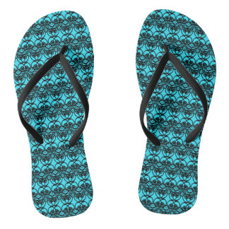Black and Aqua Blue Lace Swirl Pattern Flip Flops