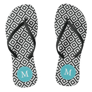 Black and Aqua Diamonds Monogrammed Flip Flops
