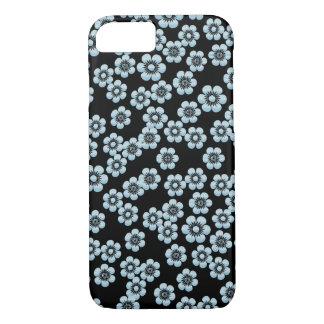 Black and Aqua Floral Sakura Pattern iPhone 7 Case