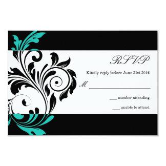 Black and Aqua Floral Swirl Wedding RSVP Card