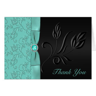 Black and Aqua Floral Thank You Card