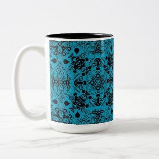 Black and Aqua Flourishes Two-Tone Coffee Mug