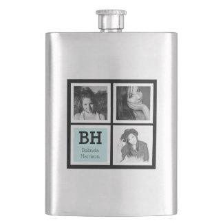 Black and Aqua Ladies Instagram Photos Flasks