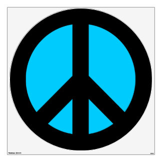Black and Aqua Peace Sign Wall Sticker