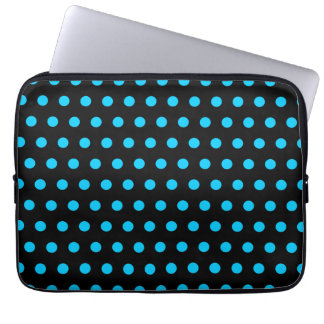Black and Aqua Polka Dots Laptop Sleeves
