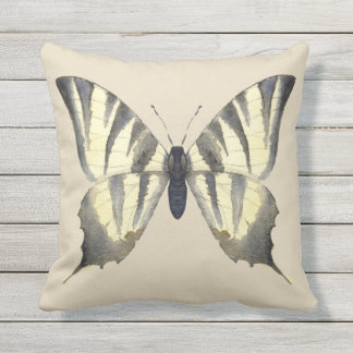 Black and Beige Butterfly Pillow Cushion