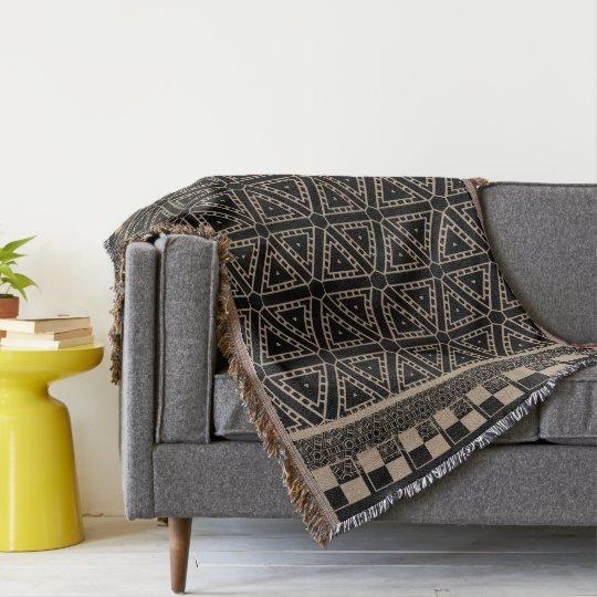 Black and Beige Ethnique Pattern  Throw Blanket
