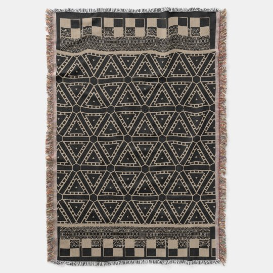 Black and Beige Ethnique Pattern  Throw Blanket