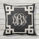 Black and Beige Greek Key Script Monogram DBN Outdoor Pillow