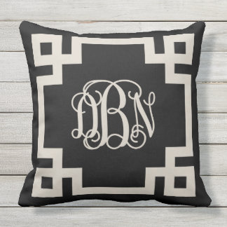 Black and Beige Greek Key Script Monogram DBN Outdoor Pillow