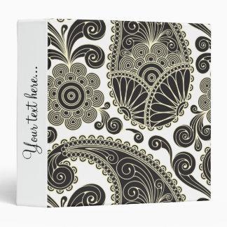 Black and beige paisley 3 ring binder