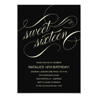 Black and Beige Sweet Sixteen Party Invitations