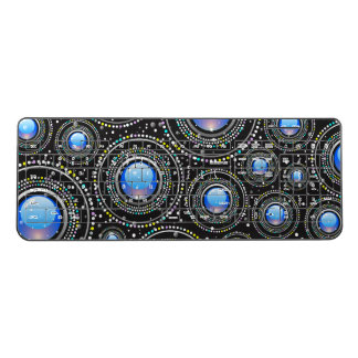 Black and blue abstract jewel pattern wireless keyboard