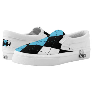 Black and Blue Argyle Casual Shoes