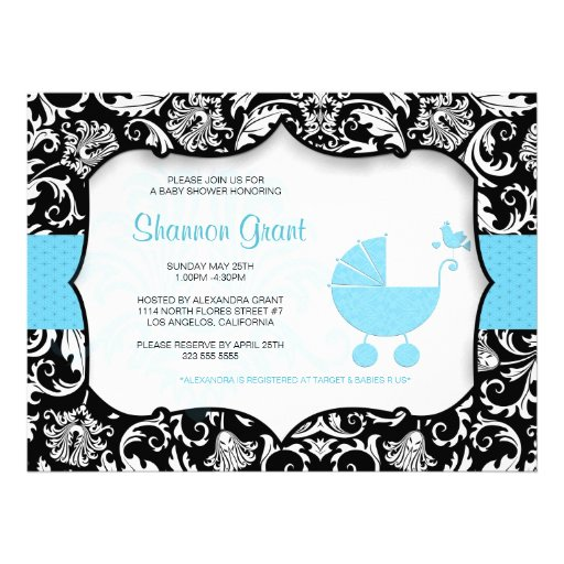 Black And Blue Baby Shower Invitation Template Personalized Invitation