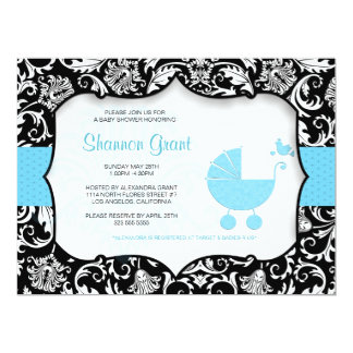 Black And Blue Baby Shower Invitation Template
