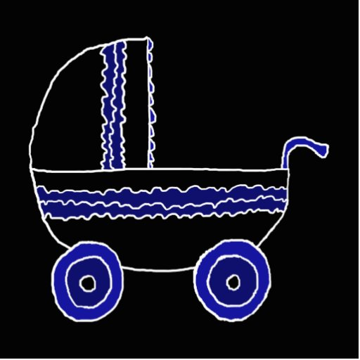 Black and Blue Baby Stroller. Acrylic Cut Outs