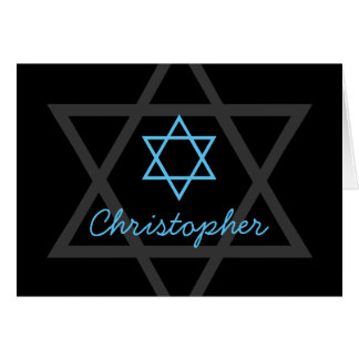 Black and Blue Bar Mitzvah Thank You Card