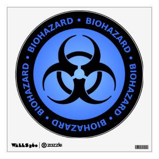 Black and Blue Biohazard Warning Sign Wall Sticker
