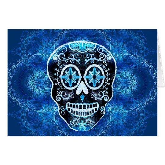 Black and Blue Calavera Card