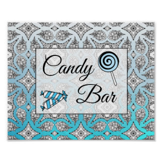 Black and Blue Candy Bar Wedding Sign Poster