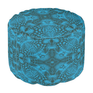 Black And Blue Colorful Round Pouf