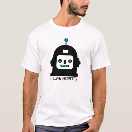 Black And Blue Cute Robot-I Love Robots T-Shirt