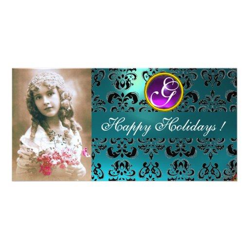 BLACK AND BLUE DAMASK Amethyst Monogram Personalized Photo Card