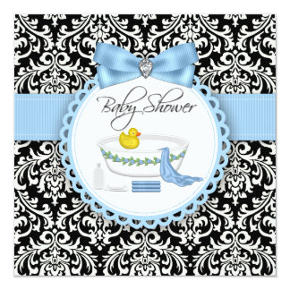 Black and Blue Damask Bath Time Baby Shower Card