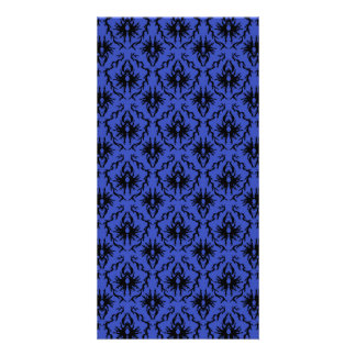 Black and Blue Damask Design Pattern Custom Photo Card