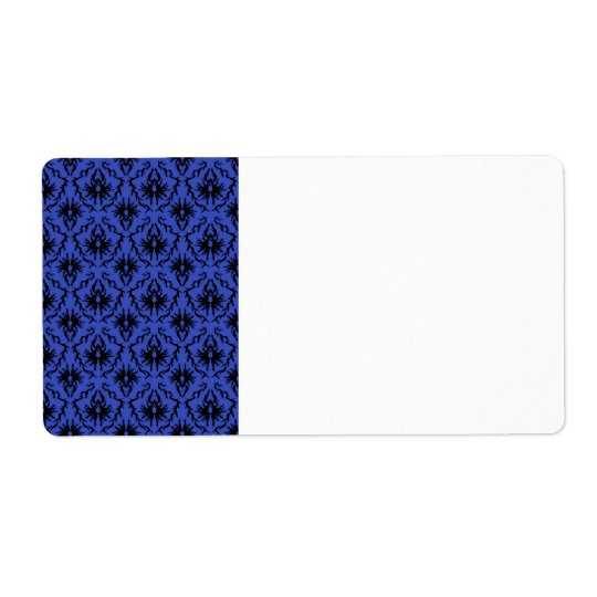 Black and Blue Damask Design Pattern. Shipping Label