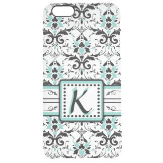Black and Blue Damask Monogram Clear iPhone 6 Plus Case