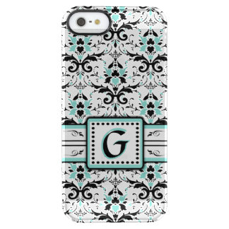 Black and Blue Damask Monogram Clear iPhone SE/5/5s Case
