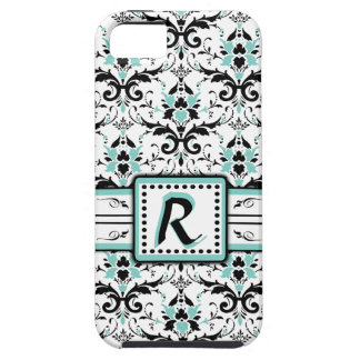 Black and Blue Damask Monogram iPhone 5 Cases