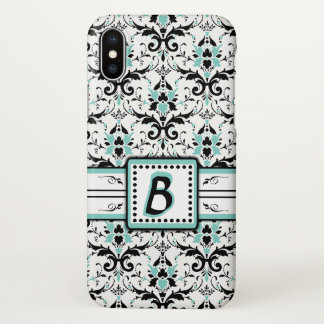 Black and Blue Damask Monogram iPhone X Case