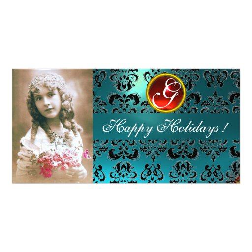 BLACK AND BLUE DAMASK Red Ruby Monogram Personalized Photo Card