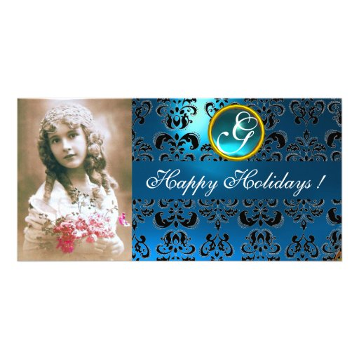 BLACK AND BLUE  DAMASK Sapphire Monogram Photo Card Template