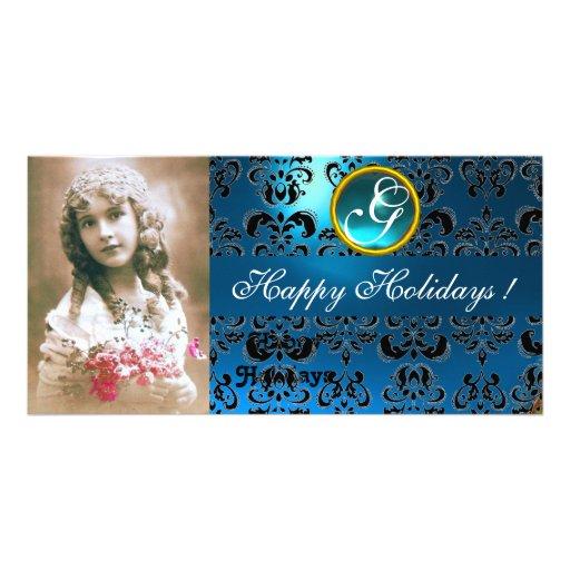 BLACK AND BLUE  DAMASK Sapphire Monogram Photo Cards
