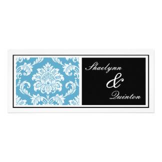 Black and Blue Damask Wedding Invitation