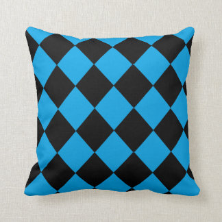 Black and Blue Diamond Pattern Throw Pillow