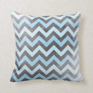 Black and blue distressed Chevron pattern pillow
