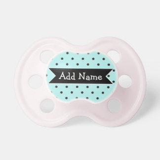 Black and Blue Dots  Personalized Baby Pacifier