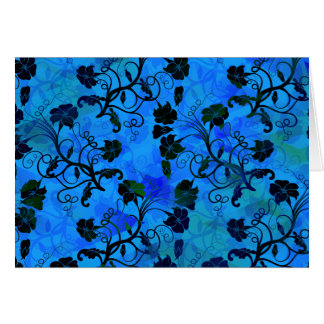Black and Blue Floral Abstract Pattern Greeting Card