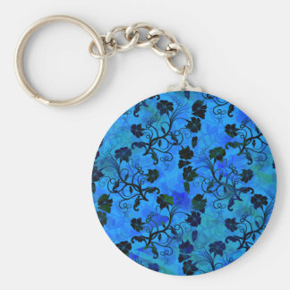 Black and Blue Floral Abstract Pattern Keychain