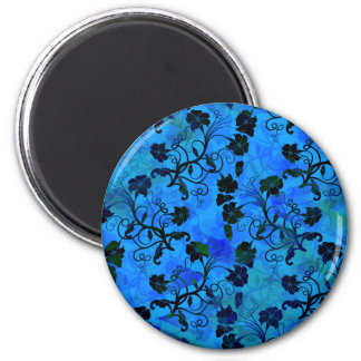 Black and Blue Floral Abstract Pattern Magnet
