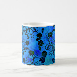 Black and Blue Floral Abstract Pattern Coffee Mug